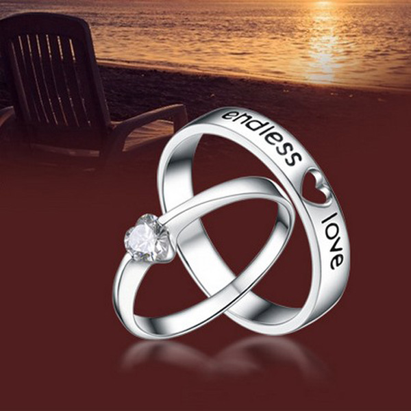 Valentines Engraved Crystal Heart Shape Couple Rings Platinum Wedding