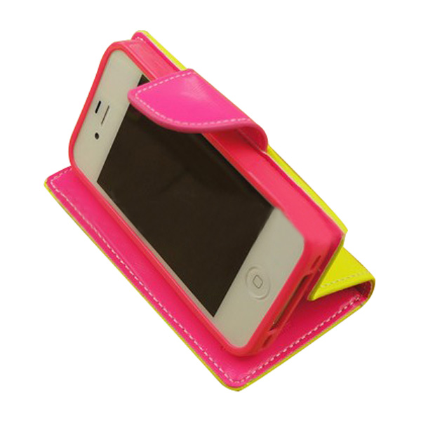 Bright-Colored PU Leather Stand Case With Card Holder For iPhone 4 4S