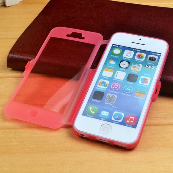 Candy Color Transparent TPU Flip Soft Case Cover For iPhone 5C