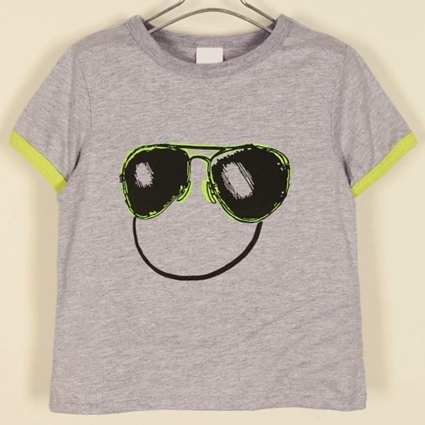 Sunglasses Print T-shirt Short-Sleeve Vest Baby Boy Smiley Clothing
