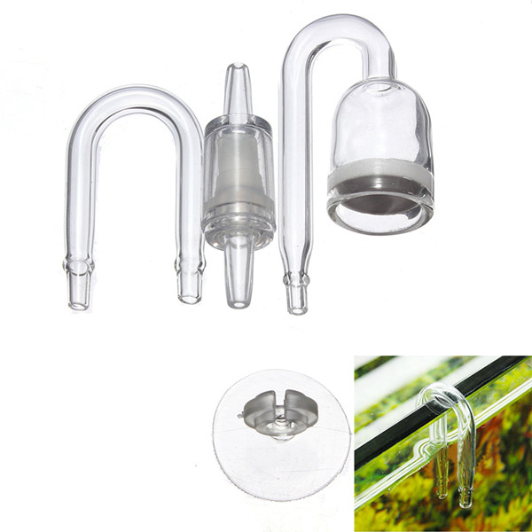 U Shape Aquarium CO2 Diffuser Check Glass Tube Suction Cup