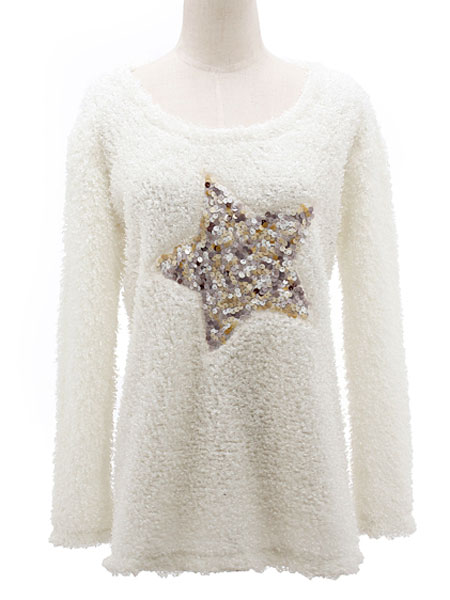 Zanzea® Casual Star Fluffy Wool White Top