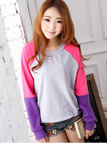 Spell Color Long Sleeve Loose Causal Cotton Hoodie