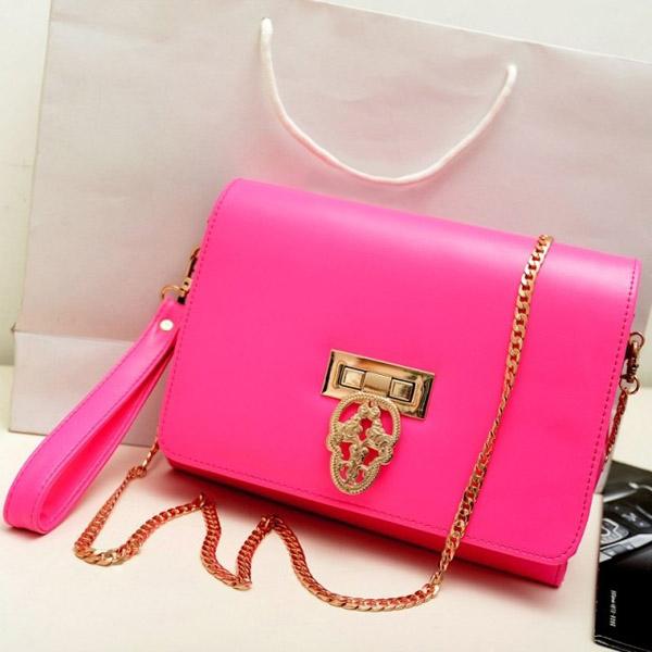 Women Vintage Skull Chain Clutch Shoulder Cross Body Bag