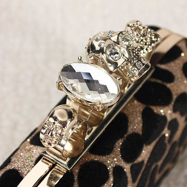 Evening Bag Leopard Skull Ring Knuckle Clutch Chain Shoulder Handbag