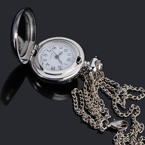 Butterfly Pattern Quartz Pocket Watch Necklace Chain