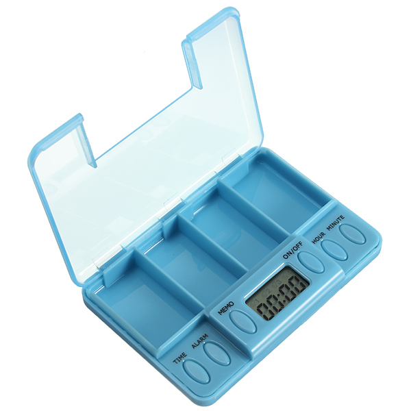 LCD Digital Pill Medicine Case Box Alarm Reminder Container Timer