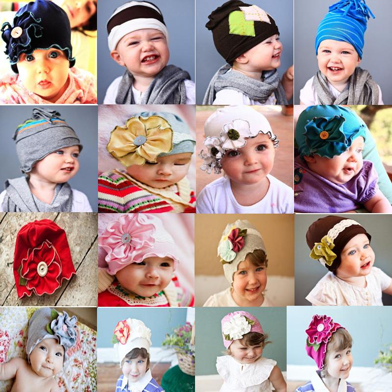 Newborn Boy Girl Baby Toddler Kids Flower Design Cotton Hat Cap