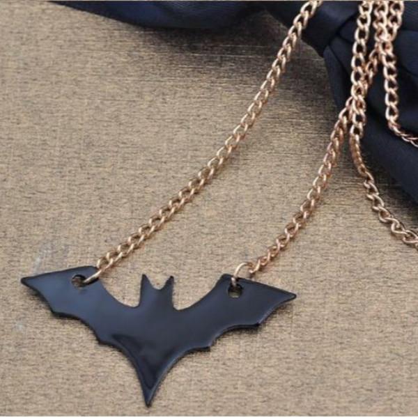 Punk Rock Black Bat Pendant Long Chain Necklace