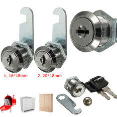 Zinc Alloy Cam Locks Filing Cabinet Mailbox Drawer Cupboard Locker with Two Keys 16mm/ 20mm
