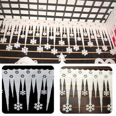 2pcs Christmas Ornaments White  Foam Snowflake Ice Strips Garden Holiday Decoration