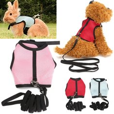 Adjustable Small Pet Dog Cat Rabbit Hamster Nylon Vest Harness & Lead Leash Rope