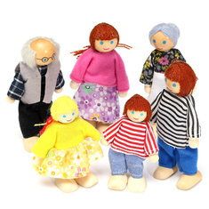 Wooden Family Members Dolls Set Kids Children Toy Dollhouse Figures Dressed Characters