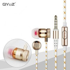 QYDZ S18 HiFi Wired Metal Gold Line In-ear Earphone With Mic for Xiaomi Samsung iPhone