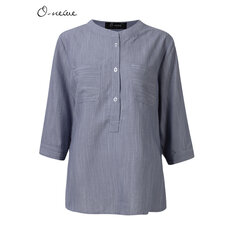 O-NEWE Loose Women Pure Color Button High Low Blouse
