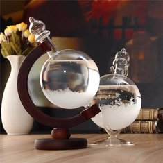 Christmas Gift Weather Forecast Crystal Wood Glass Base Home Decor