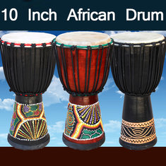 10 Inch African Hand Drum Mahogany Body Musical Instrument