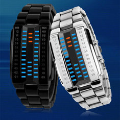 AMST 1041 Vintage Stainless Steel Digital Couple Watch