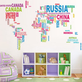 Colorful Letter World Map Wall Sticker Living Room Home Decoration Creative Decal DIY Mural Wall Art