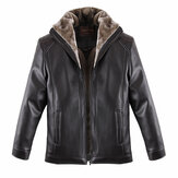Mens Thick Black PU Leather Jacket Turn-down Collar Casual Warm Solid Collar Coat Plus Size