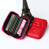 Women Men RFID PU Crocodile Pattern 9 Zipper Card Holder ID Case