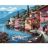 Lakeside Numbers Kit DIY Painting Oil Painting Villa Pictures Frameless Canvas Home Wall Decor 40x50cm