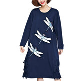 Loose Women Dragonfly Animal Printed Tassel Patchwork Dress