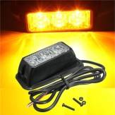 12V 3W 3 LED Emergency Strobe Flash Light Yellow Waterproof