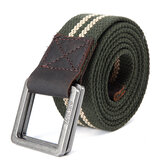 130CM Mens Retro Double Rings Pin Buckle Belts Casual Canvas Military Tactical Waistband