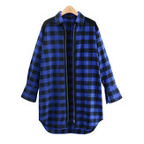 Loose Plaid Split Turn-down Collar Long Sleeve Women Long Coat