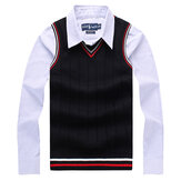 Mens Autumn V-neck Vest Sleeveless Spell Color Knitwear Cotton Slim Fit Sweater