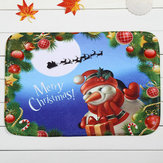 Christmas Santa Claus Footprints Non-slip Floor Mat Bathroom Kitchen Bedroom Doormat Carpet Decor