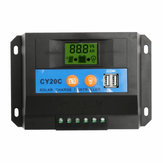 20A 12V/24V LCD Solar Charge Controller Panel Battery Regulator With 2 USB Ports
