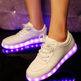 Unisex USB LED Light Lace Up Luminous Shoes Sportswear Couple  Luminous Sneaker