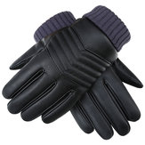 Thickened Touch Screen PU Gloves Riding Racing Skiing Fishing Motorcycle Mountain Bike Black