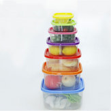 7 PCS Rainbow Plastic Kitchen Crisper Square Storage Box Refrigerator Food Storage Organizer