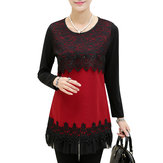Original Casual Patchwork Lace Long Sleeve Slim Women Knitted Shirt