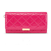Fashion Patent Leather Women Clutch Bag Quilted Long Lady Evening Party Wallet