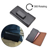 Universal Black Leather Magnetic Rotatable Clip Waist Bag Case For Phone Under 5.5 Inch