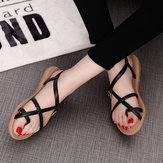 Lace Up Buckle Peep Toe Wedge Sandals Elastic Soft Sole Beach Sandals