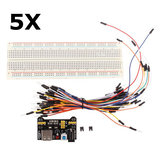 5Pcs MB102 Solderless Breadboard + Power Supply + Jumper Cable Kits For Arduino