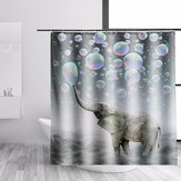 Elephant Fabric Waterproof Bathroom Shower Curtain Panel Sheer Bathroom Decor 12 Hooks