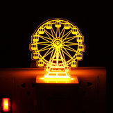 3D Ferris Wheel Yellow LED Night Light Plug In Induction Desk Table Lamp Gifts Decor