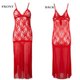 Women Deep V Lace Floral Hollow Out Long Mesh See-through Sleepwear Sexy Bodysuit Nightdress