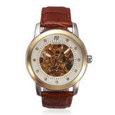 SEWOR Mechanical Leather Skeleton Rhinestone Wrist Watch