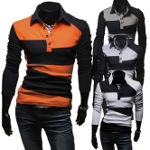 China Wholesale Striped Polo Shirts Mens Fashion Contrast Long Sleeve T-shirts