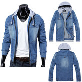 Autumn Winter Mens Denim Jacket Slim Fit Hooded Coat Jacket