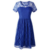 Women Vestido Sexy Lace Short Sleeve Backless Knee Length Party Dress