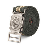 140CM Men Pentagram Extended Length Canvas Military Tactical Belt Automatic Buckle