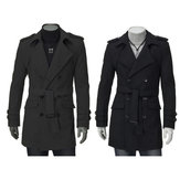 China Wholesale New Men's Casual Trench Double Breasted Slim Fit Long winter Coats